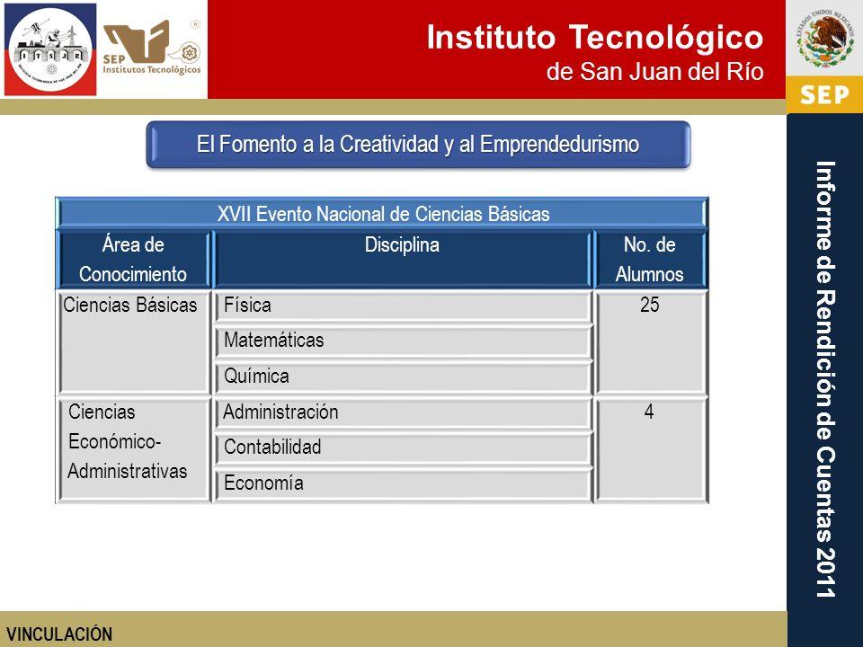 Instituto Tecnológico de San Juan del Río Informe de Rendición de Cuentas 2011 El Fomento a la Creatividad y al Emprendedurismo VINCULACIÓN XVII Event