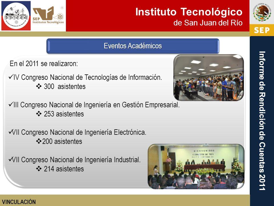 Instituto Tecnológico de San Juan del Río Informe de Rendición de Cuentas 2011 En el 2011 se realizaron: IV Congreso Nacional de Tecnologías de Inform