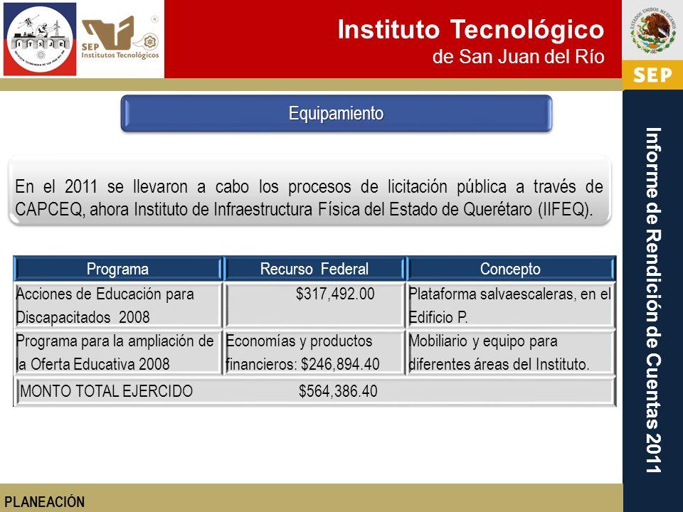 Instituto Tecnológico de San Juan del Río Informe de Rendición de Cuentas 2011 PLANEACIÓN En el 2011 se llevaron a cabo los procesos de licitación púb