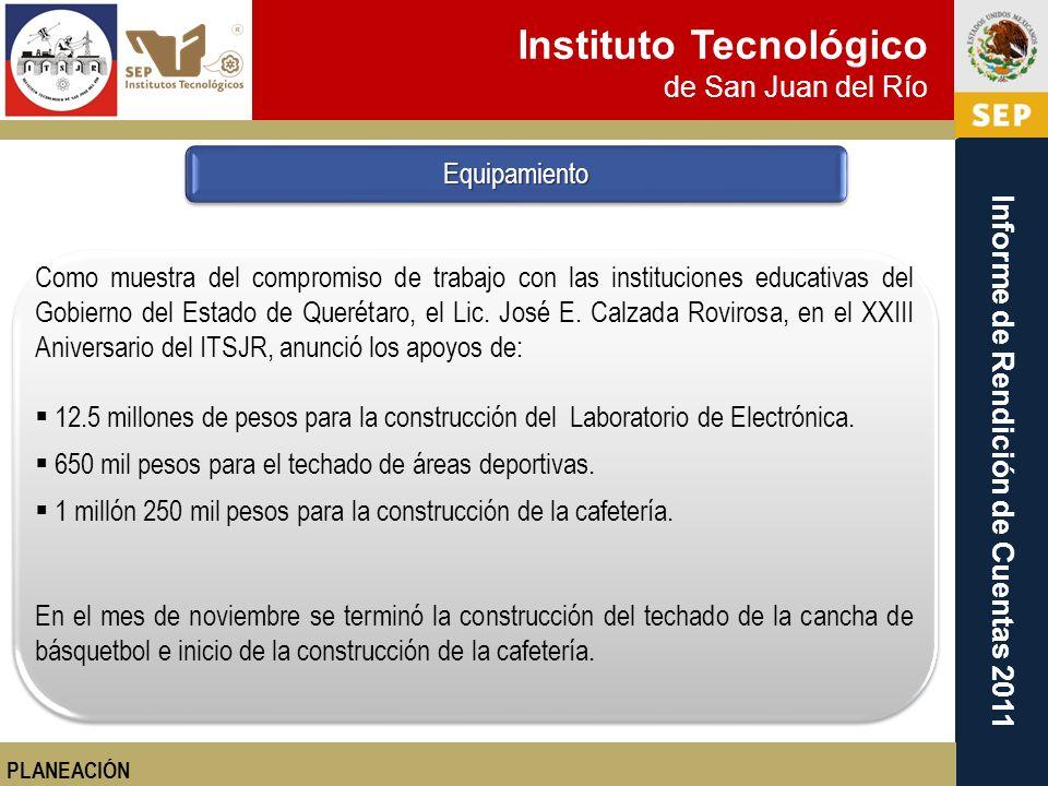 Instituto Tecnológico de San Juan del Río Informe de Rendición de Cuentas 2011 PLANEACIÓN Como muestra del compromiso de trabajo con las instituciones