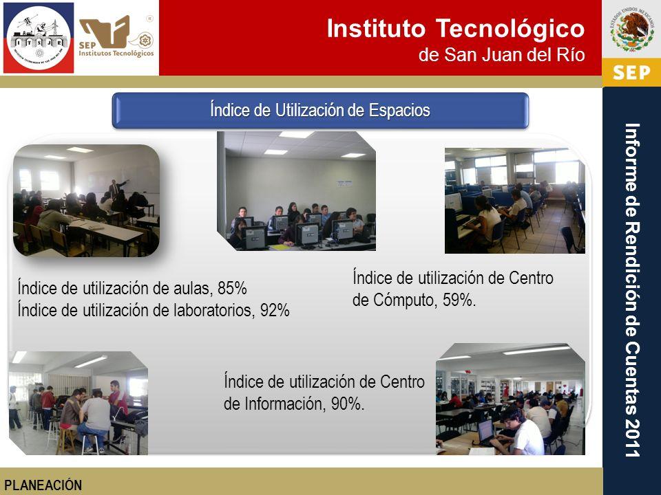 Instituto Tecnológico de San Juan del Río Informe de Rendición de Cuentas 2011 Índice de utilización de aulas, 85% Índice de utilización de laboratori