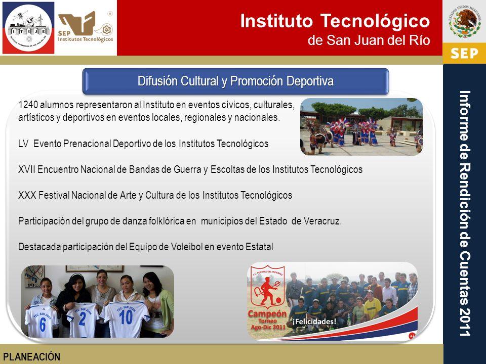 Instituto Tecnológico de San Juan del Río Informe de Rendición de Cuentas 2011 1240 alumnos representaron al Instituto en eventos cívicos, culturales,