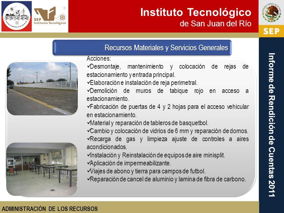 Instituto Tecnológico de San Juan del Río Informe de Rendición de Cuentas 2011 Acciones: Desmontaje, mantenimiento y colocación de rejas de estacionam
