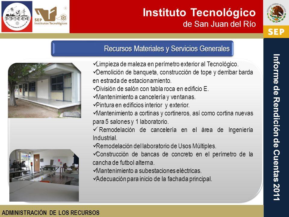 Instituto Tecnológico de San Juan del Río Informe de Rendición de Cuentas 2011 Limpieza de maleza en perímetro exterior al Tecnológico. Demolición de