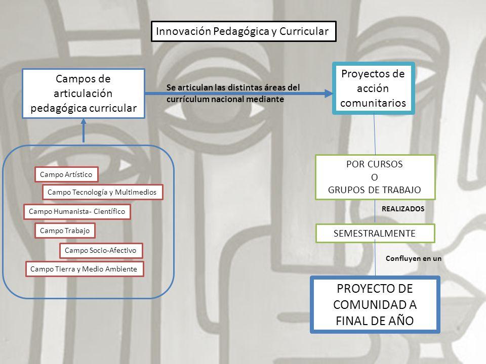 Innovación Pedagógica y Curricular Campos de articulación pedagógica curricular Campo Artístico Campo Humanista- Científico Campo Tecnología y Multime