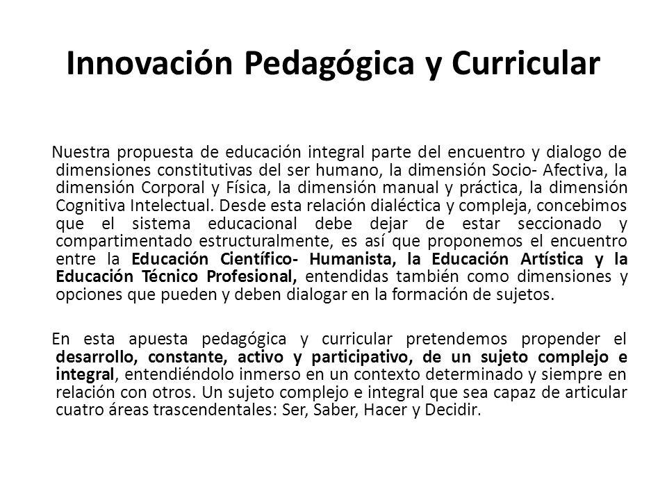 Innovación Pedagógica y Curricular Nuestra propuesta de educación integral parte del encuentro y dialogo de dimensiones constitutivas del ser humano,