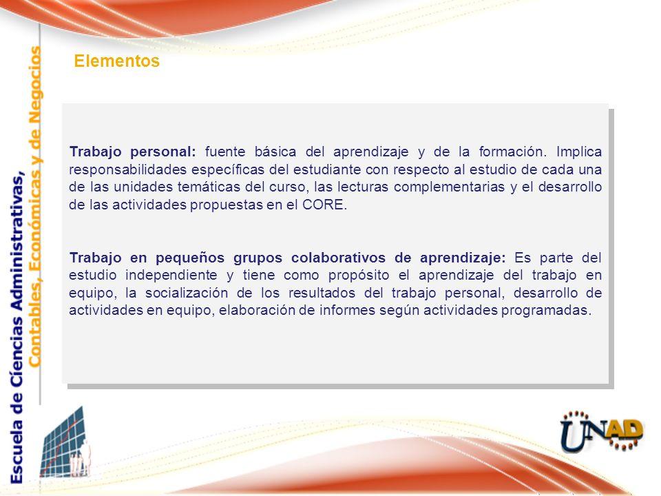 Trabajo personal: fuente básica del aprendizaje y de la formación. Implica responsabilidades específicas del estudiante con respecto al estudio de cad