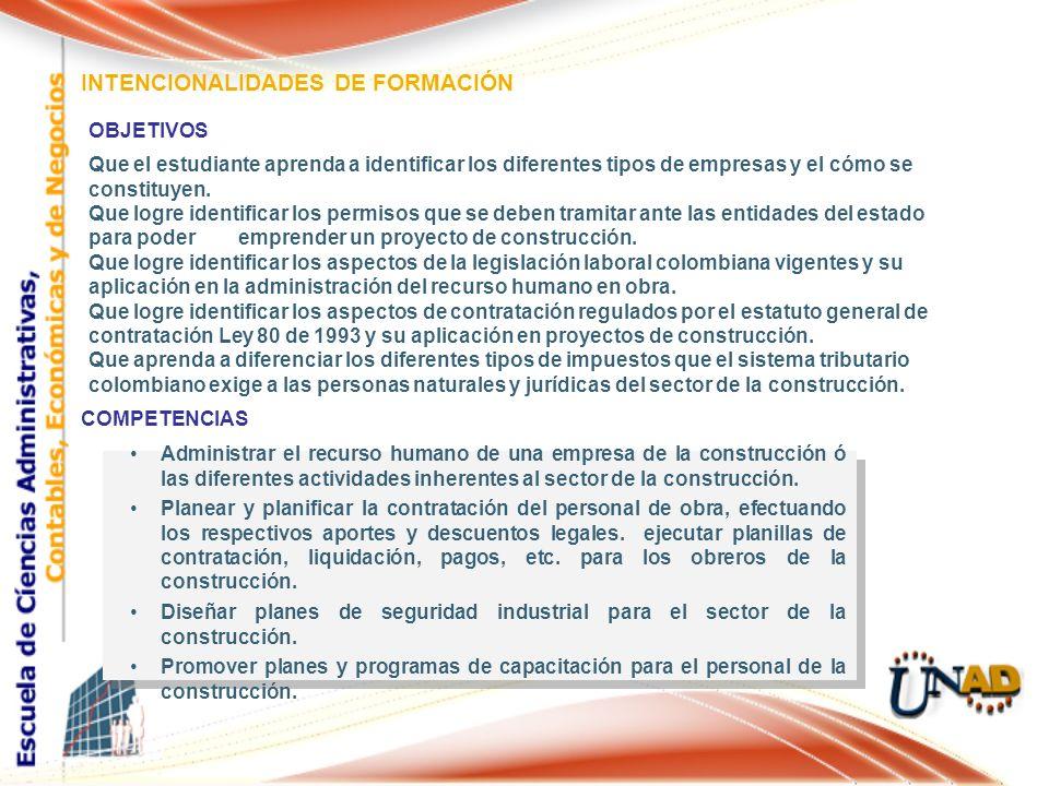 INTENCIONALIDADES DE FORMACIÓN OBJETIVOS Que el estudiante aprenda a identificar los diferentes tipos de empresas y el cómo se constituyen. Que logre