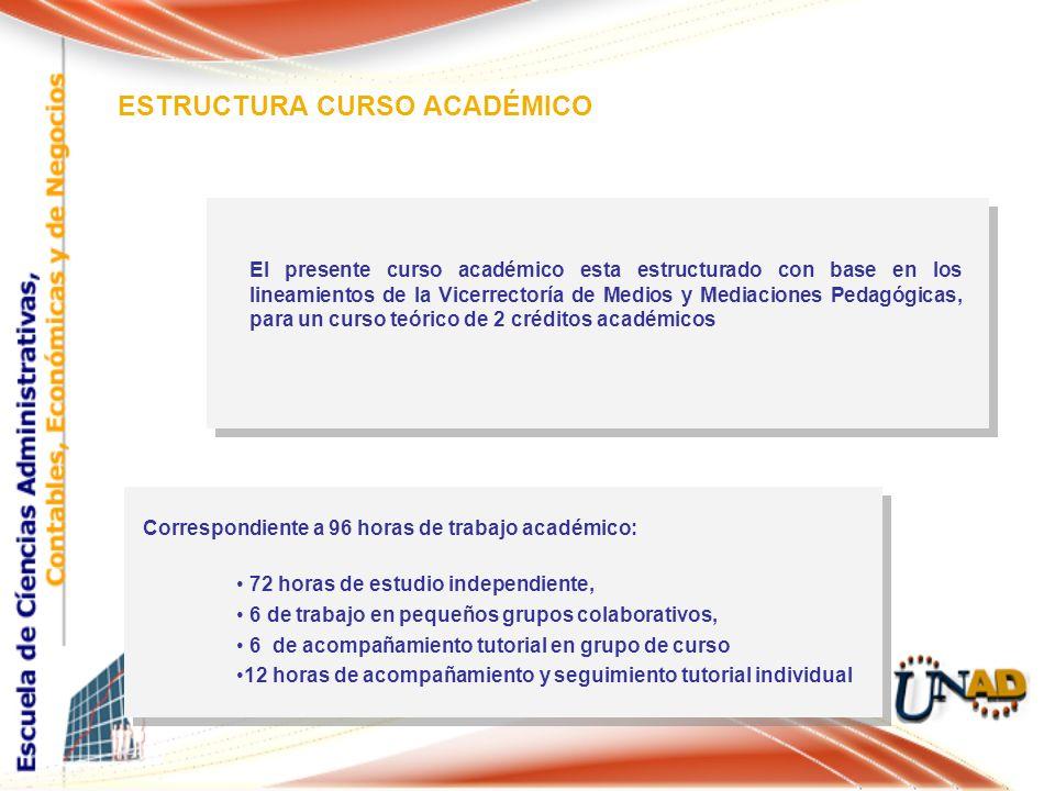 ESTRUCTURA CURSO ACADÉMICO El presente curso académico esta estructurado con base en los lineamientos de la Vicerrectoría de Medios y Mediaciones Peda