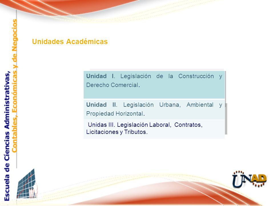 Unidades Académicas Unidad I. Legislación de la Construcción y Derecho Comercial. Unidad II. Legislación Urbana, Ambiental y Propiedad Horizontal. Uni