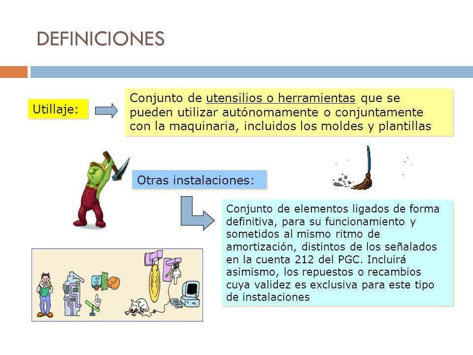 DEFINICIONES Utillaje: Conjunto de utensilios o herramientas que se pueden utilizar autónomamente o conjuntamente con la maquinaria, incluidos los mol