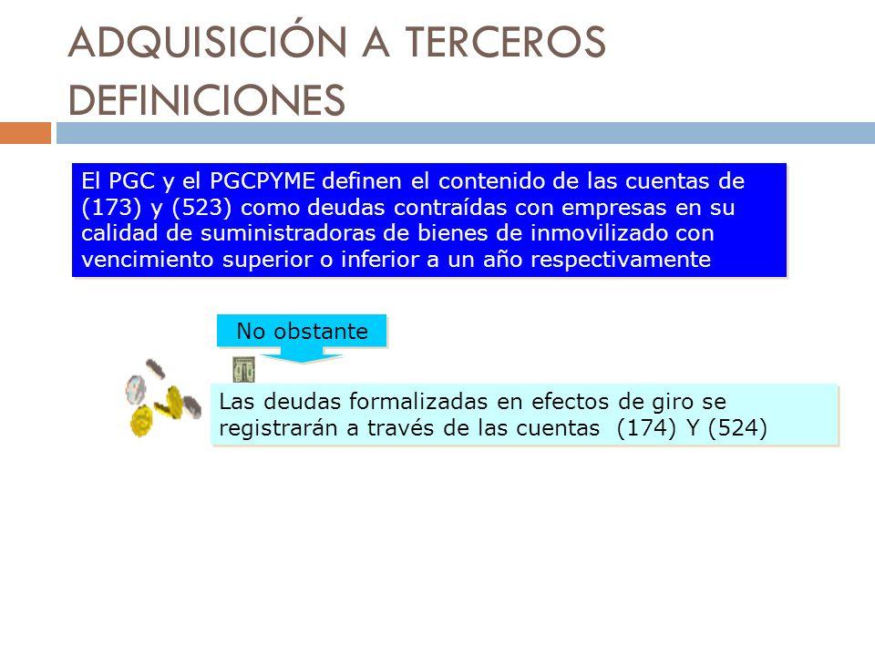 ADQUISICIÓN A TERCEROS DEFINICIONES El PGC y el PGCPYME definen el contenido de las cuentas de (173) y (523) como deudas contraídas con empresas en su