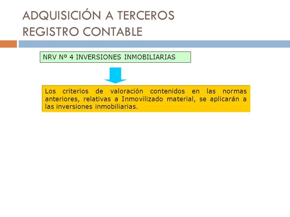 ADQUISICIÓN A TERCEROS REGISTRO CONTABLE NRV Nº 4 INVERSIONES INMOBILIARIAS Los criterios de valoración contenidos en las normas anteriores, relativas