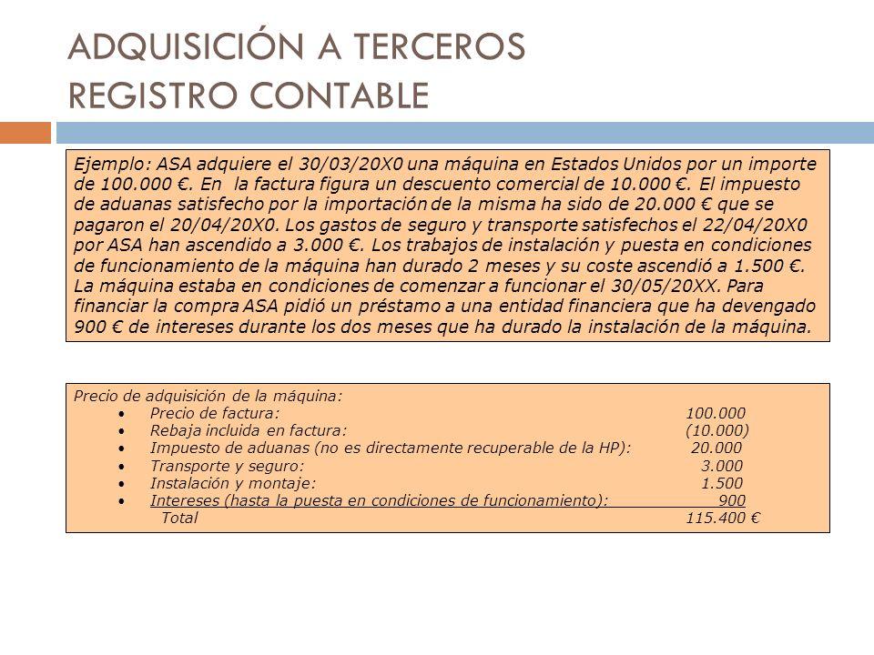 ADQUISICIÓN A TERCEROS REGISTRO CONTABLE Ejemplo: ASA adquiere el 30/03/20X0 una máquina en Estados Unidos por un importe de 100.000. En la factura fi