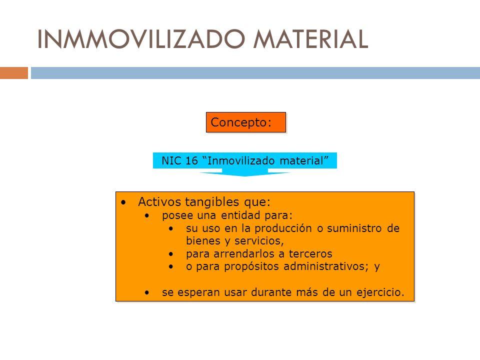 INMMOVILIZADO MATERIAL Concepto: Activos tangibles que: posee una entidad para: su uso en la producción o suministro de bienes y servicios, para arren