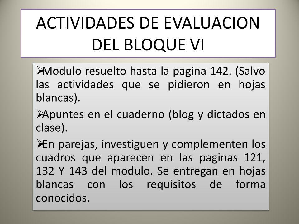 ACTIVIDADES DE EVALUACION DEL BLOQUE VI Modulo resuelto hasta la pagina 142.