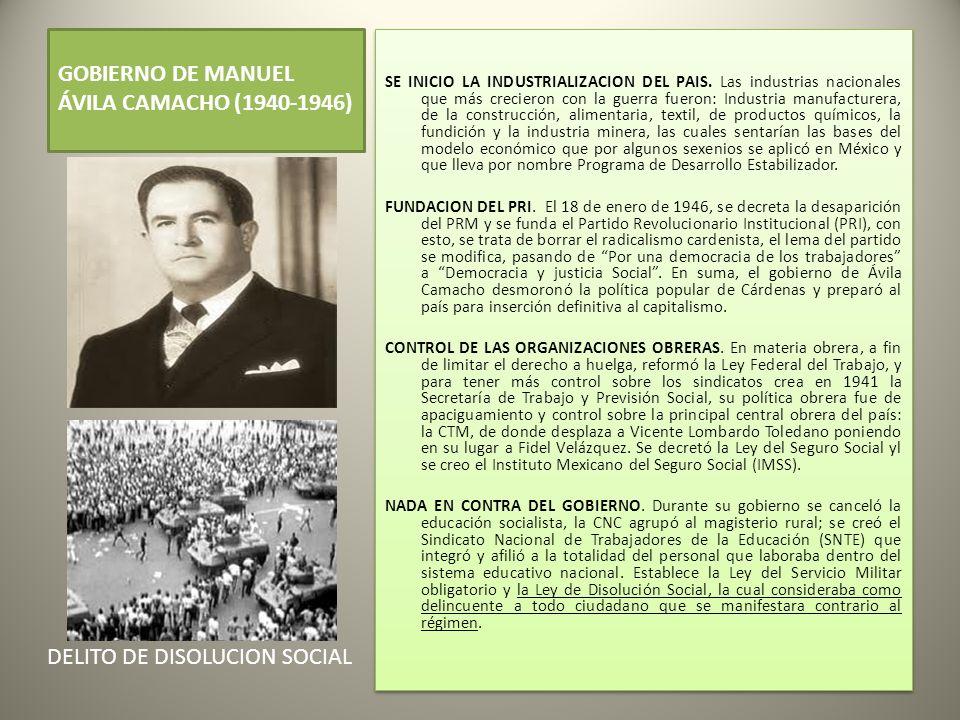GOBIERNO DE MANUEL ÁVILA CAMACHO (1940-1946) SE INICIO LA INDUSTRIALIZACION DEL PAIS.