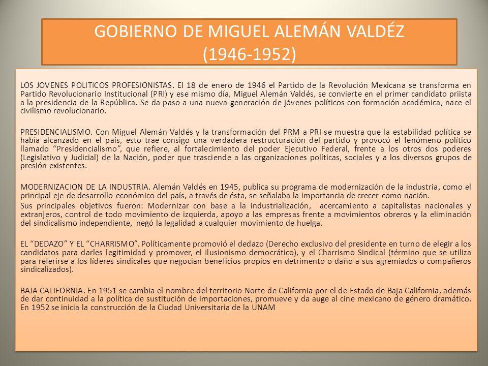 GOBIERNO DE MIGUEL ALEMÁN VALDÉZ (1946-1952) LOS JOVENES POLITICOS PROFESIONISTAS.