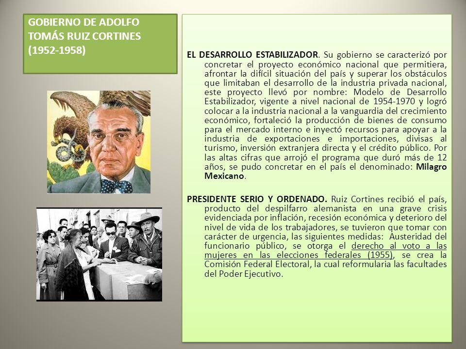 GOBIERNO DE ADOLFO TOMÁS RUIZ CORTINES (1952-1958) EL DESARROLLO ESTABILIZADOR.