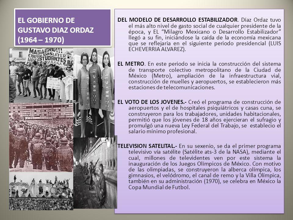 EL GOBIERNO DE GUSTAVO DIAZ ORDAZ (1964 – 1970) DEL MODELO DE DESARROLLO ESTABILIZADOR.