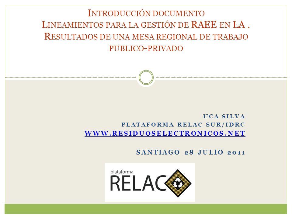 QUE ES LA PLATAFORMA RELAC SUR/IDRC La Plataforma Regional sobre Residuos Electrónicos de PC en Latinoamérica y el Caribe (RELAC), es un proyecto asociativo, sin fines de lucro, que se implementa en SUR Corporación - Chile, con el apoyo del Centro Internacional de Investigaciones para el Desarrollo IDRC - Canadá.