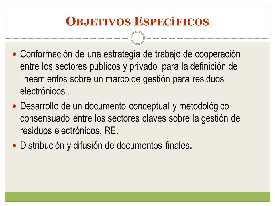 O BJETIVOS E SPECÍFICOS Conformación de una estrategia de trabajo de cooperación entre los sectores publicos y privado para la definición de lineamien