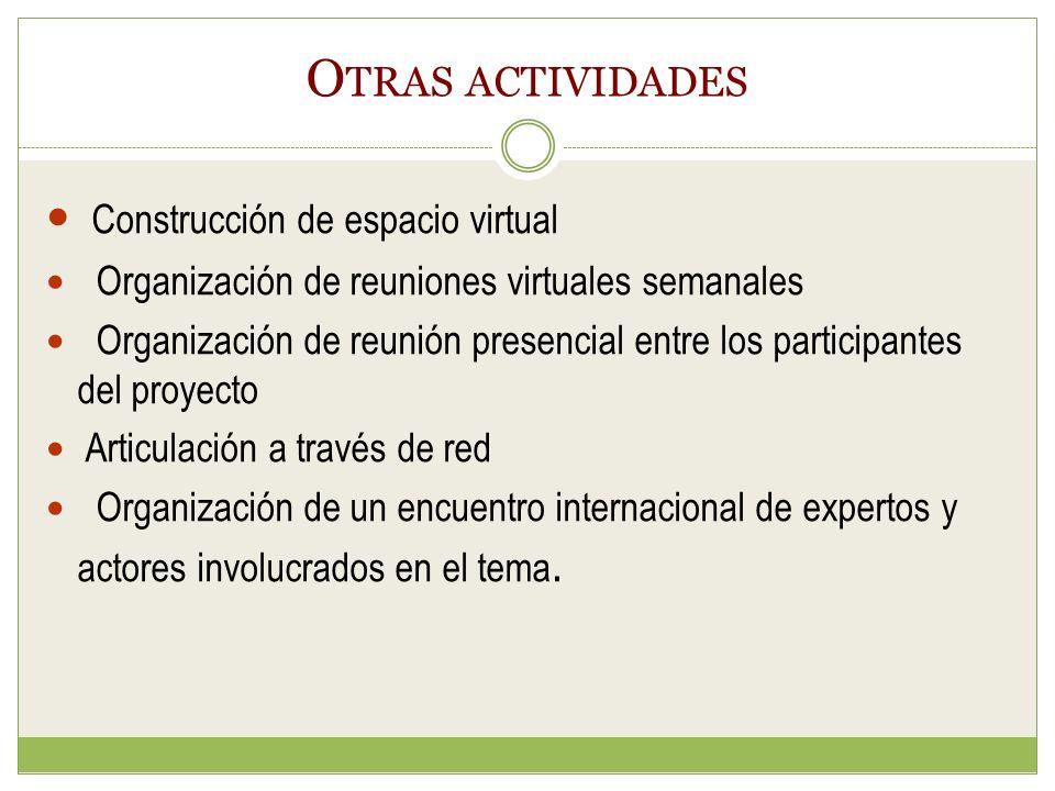 O TRAS ACTIVIDADES Construcción de espacio virtual Organización de reuniones virtuales semanales Organización de reunión presencial entre los participantes del proyecto Articulación a través de red Organización de un encuentro internacional de expertos y actores involucrados en el tema.