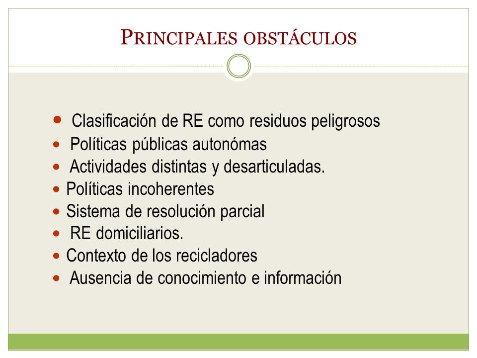 P RINCIPALES OBSTÁCULOS Clasificación de RE como residuos peligrosos Políticas públicas autonómas Actividades distintas y desarticuladas.