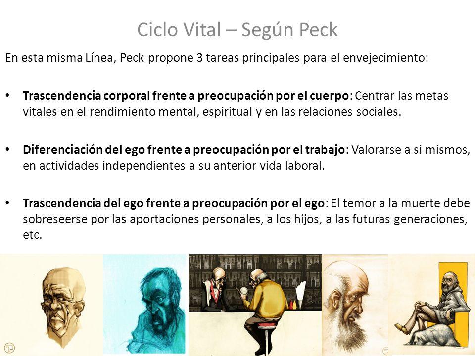 Ciclo Vital – Según Peck En esta misma Línea, Peck propone 3 tareas principales para el envejecimiento: Trascendencia corporal frente a preocupación p