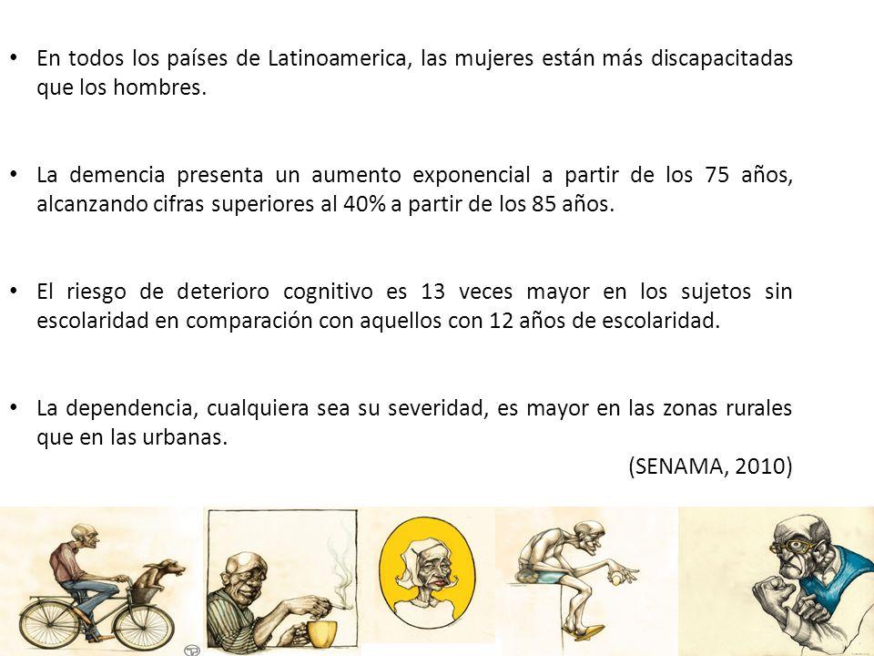 En todos los países de Latinoamerica, las mujeres están más discapacitadas que los hombres. La demencia presenta un aumento exponencial a partir de lo