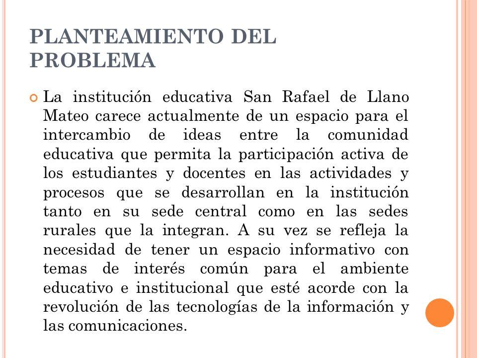 PLANTEAMIENTO DEL PROBLEMA La institución educativa San Rafael de Llano Mateo carece actualmente de un espacio para el intercambio de ideas entre la c