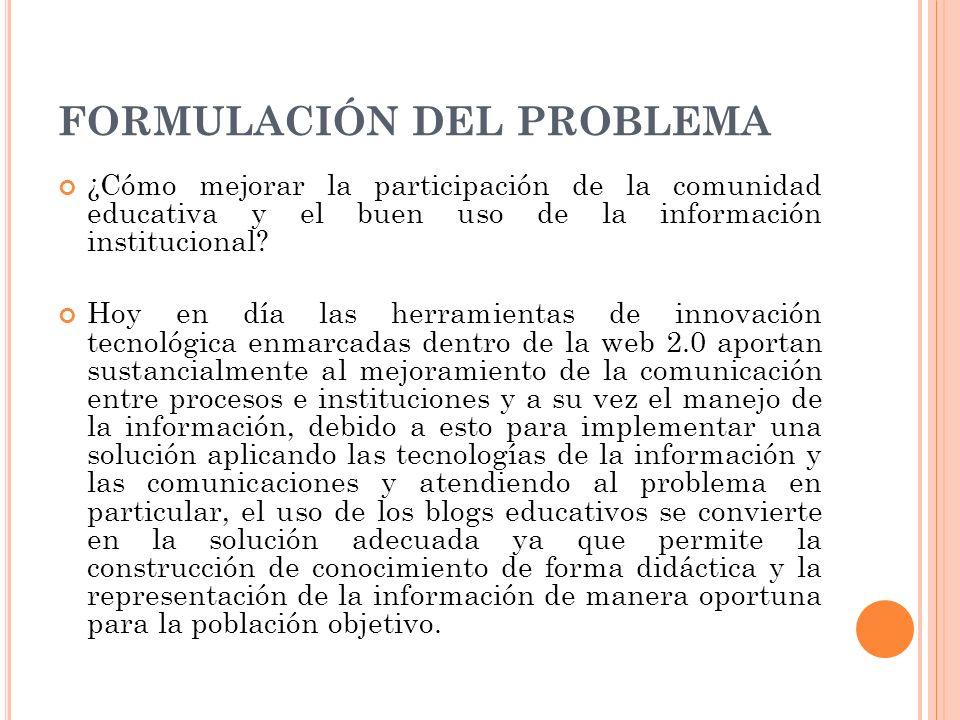 FORMULACIÓN DEL PROBLEMA ¿Cómo mejorar la participación de la comunidad educativa y el buen uso de la información institucional? Hoy en día las herram