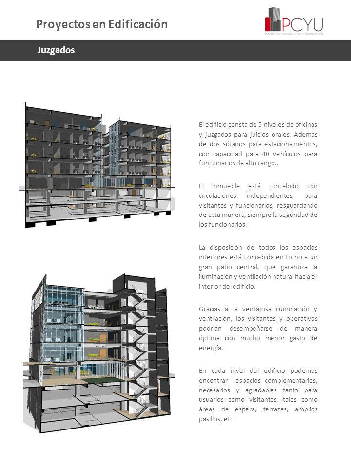 El edificio consta de 5 niveles de oficinas y juzgados para juicios orales. Además de dos sótanos para estacionamientos, con capacidad para 40 vehícul