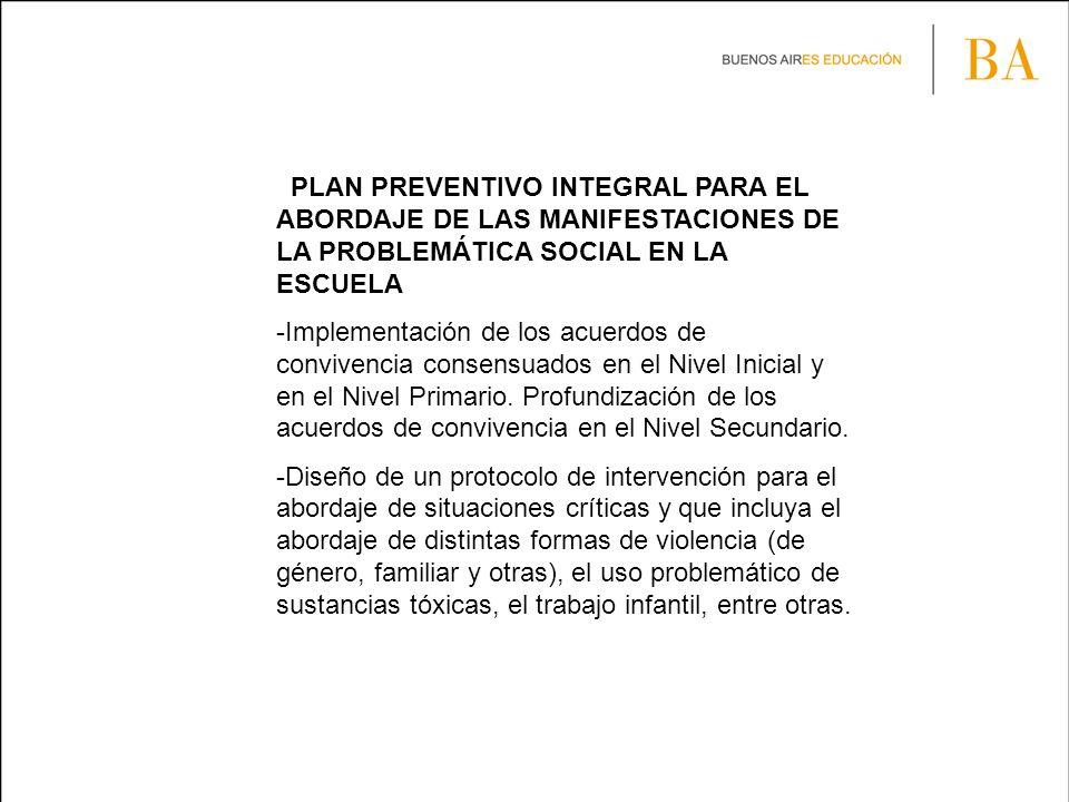 PLAN PREVENTIVO INTEGRAL PARA EL ABORDAJE DE LAS MANIFESTACIONES DE LA PROBLEMÁTICA SOCIAL EN LA ESCUELA -Implementación de los acuerdos de convivencia consensuados en el Nivel Inicial y en el Nivel Primario.