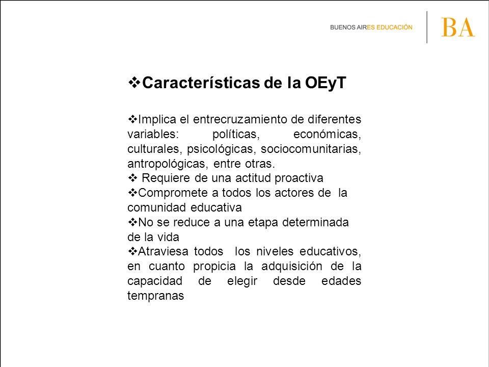Características de la OEyT Implica el entrecruzamiento de diferentes variables: políticas, económicas, culturales, psicológicas, sociocomunitarias, antropológicas, entre otras.