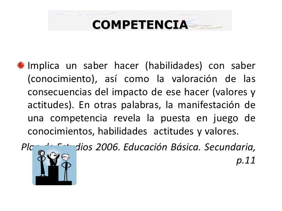 COMPETENCIA Implica un saber hacer (habilidades) con saber (conocimiento), así como la valoración de las consecuencias del impacto de ese hacer (valor