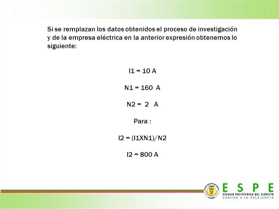 Si se remplazan los datos obtenidos el proceso de investigación y de la empresa eléctrica en la anterior expresión obtenemos lo siguiente: I1 = 10 A N