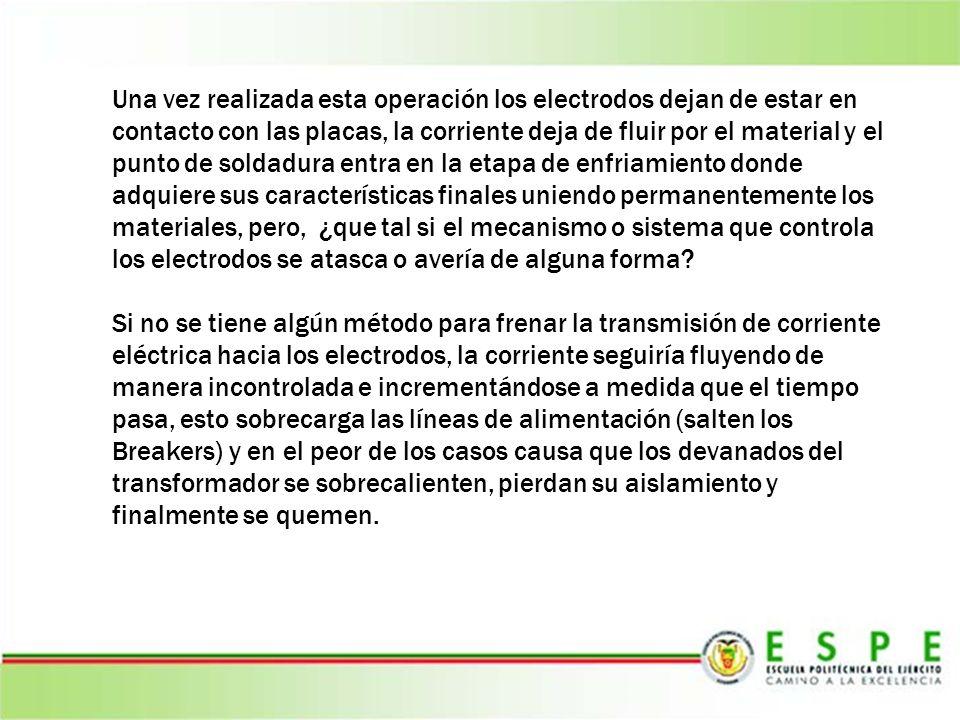Una vez realizada esta operación los electrodos dejan de estar en contacto con las placas, la corriente deja de fluir por el material y el punto de so