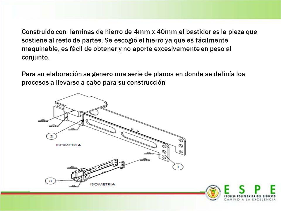 Construido con laminas de hierro de 4mm x 40mm el bastidor es la pieza que sostiene al resto de partes. Se escogió el hierro ya que es fácilmente maqu