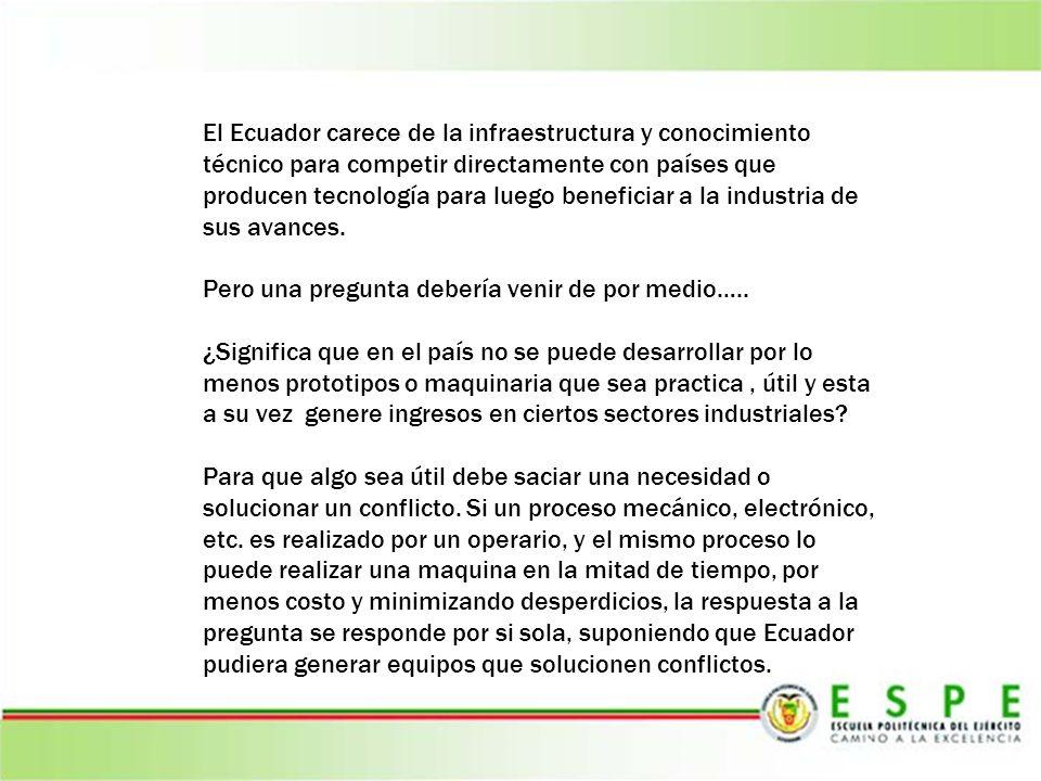 El Ecuador carece de la infraestructura y conocimiento técnico para competir directamente con países que producen tecnología para luego beneficiar a l