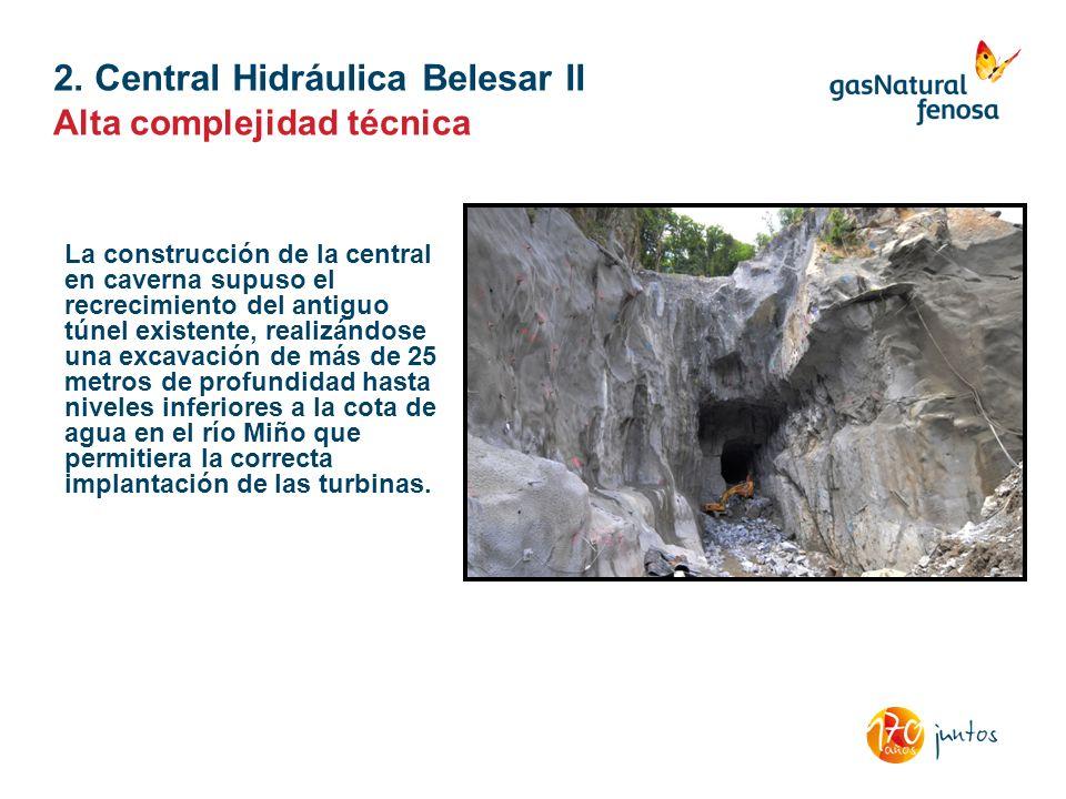 2. Central Hidráulica Belesar II Alta complejidad técnica La construcción de la central en caverna supuso el recrecimiento del antiguo túnel existente
