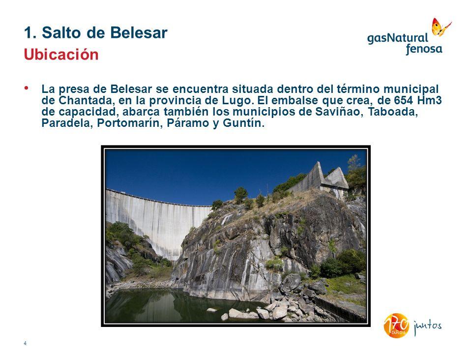 Ubicación La presa de Belesar se encuentra situada dentro del término municipal de Chantada, en la provincia de Lugo. El embalse que crea, de 654 Hm3
