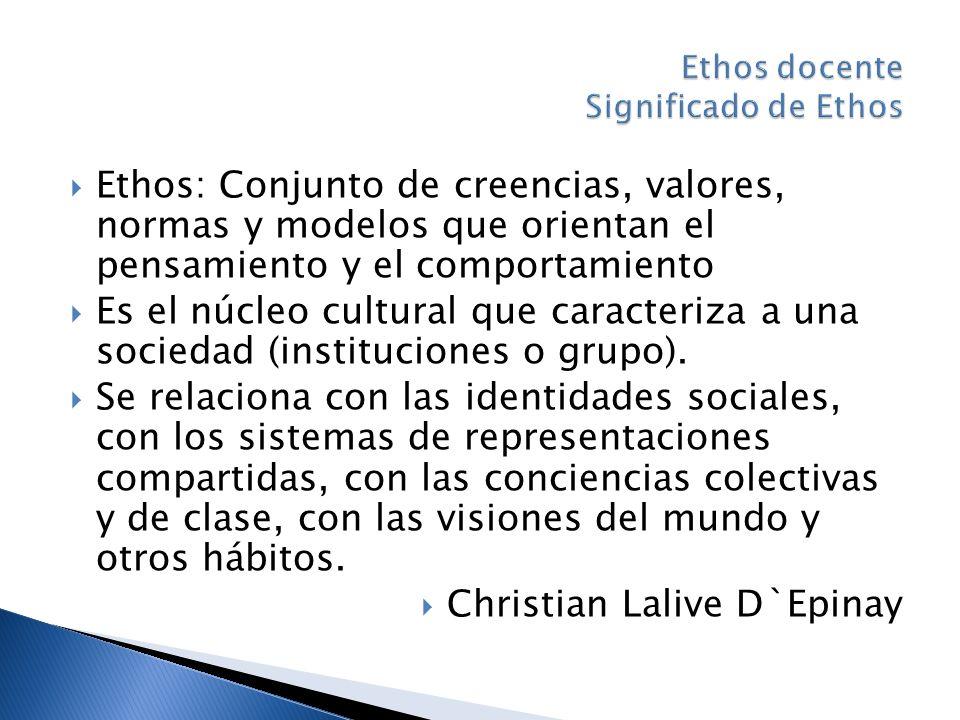 Ethos: Conjunto de creencias, valores, normas y modelos que orientan el pensamiento y el comportamiento Es el núcleo cultural que caracteriza a una sociedad (instituciones o grupo).