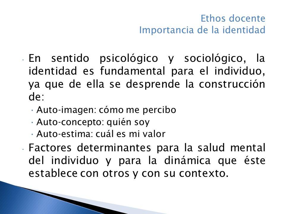 En sentido psicológico y sociológico, la identidad es fundamental para el individuo, ya que de ella se desprende la construcción de: Auto-imagen: cómo me percibo Auto-concepto: quién soy Auto-estima: cuál es mi valor Factores determinantes para la salud mental del individuo y para la dinámica que éste establece con otros y con su contexto.