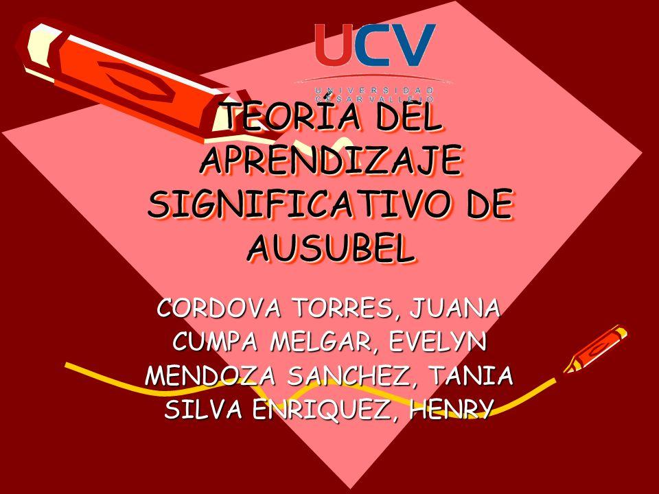 TEORÍA DEL APRENDIZAJE SIGNIFICATIVO DE AUSUBEL CORDOVA TORRES, JUANA CUMPA MELGAR, EVELYN MENDOZA SANCHEZ, TANIA SILVA ENRIQUEZ, HENRY