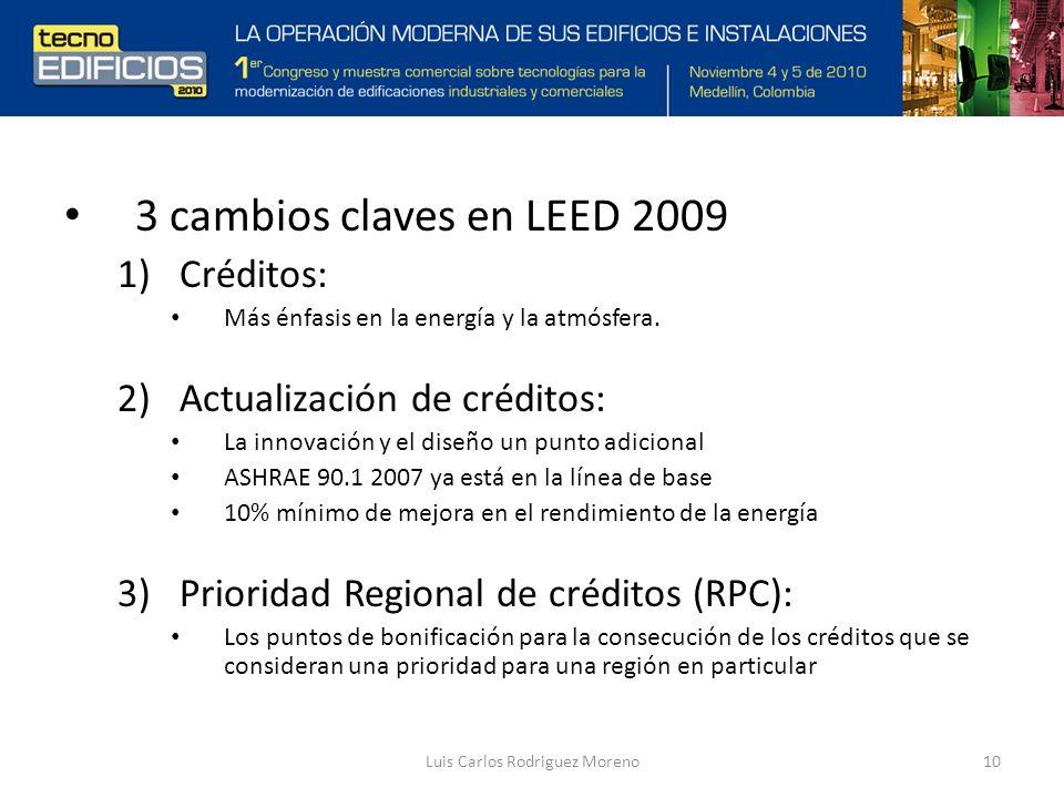 Luis Carlos Rodriguez Moreno10 3 cambios claves en LEED 2009 1)Créditos: Más énfasis en la energía y la atmósfera.