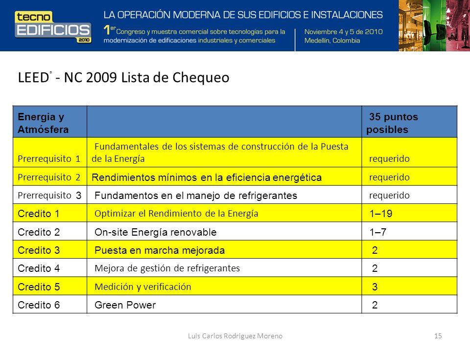 Luis Carlos Rodriguez Moreno15 Energia y Atmósfera 35 puntos posibles Prerrequisito 1 Fundamentales de los sistemas de construcción de la Puesta de la Energía requerido Prerrequisito 2 Rendimientos mínimos en la eficiencia energética requerido Prerrequisito 3 Fundamentos en el manejo de refrigerantes requerido Credito 1 Optimizar el Rendimiento de la Energía 1–19 Credito 2 On-site Energía renovable 1–7 Credito 3 Puesta en marcha mejorada 2 Credito 4 Mejora de gestión de refrigerantes 2 Credito 5 Medición y verificación 3 Credito 6 Green Power 2 LEED ® - NC 2009 Lista de Chequeo