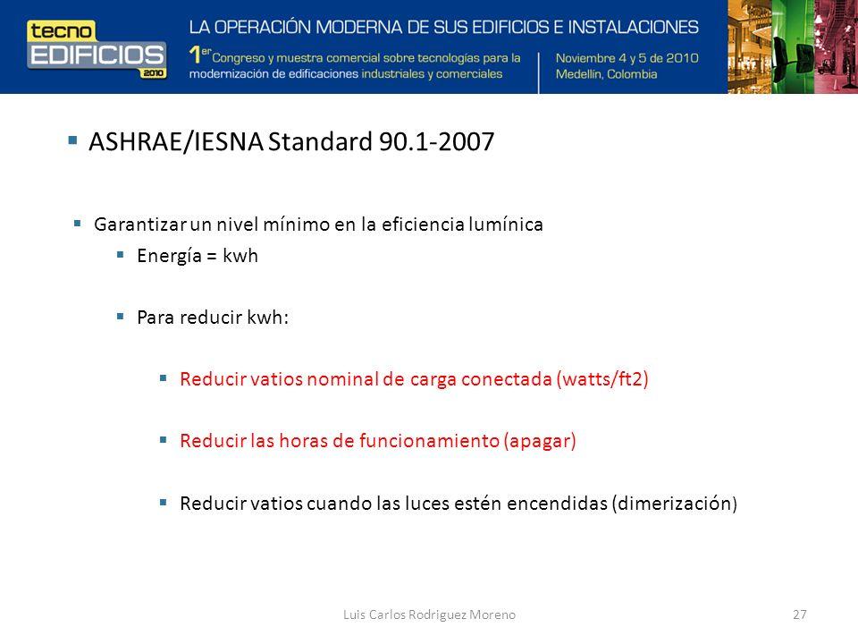 Luis Carlos Rodriguez Moreno27 ASHRAE/IESNA Standard 90.1-2007 Garantizar un nivel mínimo en la eficiencia lumínica Energía = kwh Para reducir kwh: Reducir vatios nominal de carga conectada (watts/ft2) Reducir las horas de funcionamiento (apagar) Reducir vatios cuando las luces estén encendidas (dimerización )