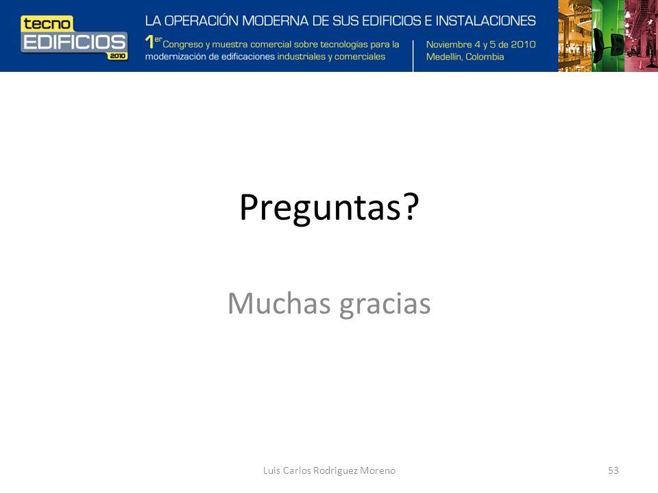 Preguntas? Muchas gracias Luis Carlos Rodriguez Moreno53