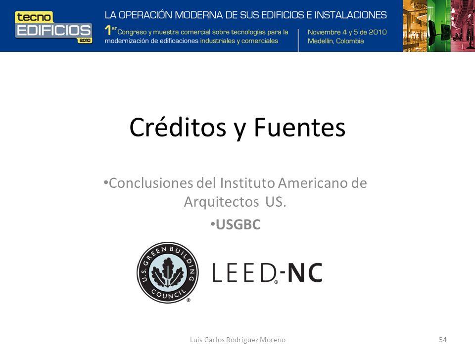 Créditos y Fuentes Conclusiones del Instituto Americano de Arquitectos US.